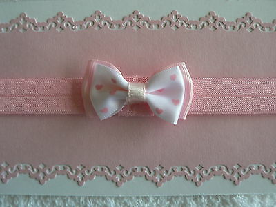 Pink Newborn/Baby/Toddler/Girl Headband With Pink/ White Double Bow With Hearts
