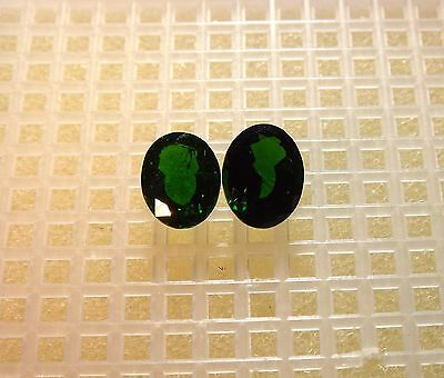 Phenomenal Emerald Green & Eye-Clean Chrome Diopside (2) 10X8Mm Oval Pair 4.81Ct