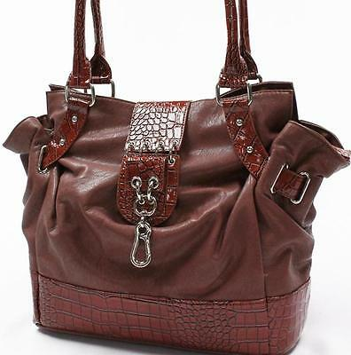 BROWN LT ARCADIA USA FAUX LEATHER SHOULDER BAG TOTE PA8612BN