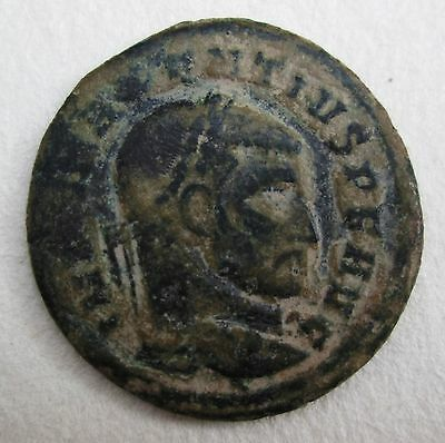 Roman Bronze Coin Maxentius Ancient Archaeology