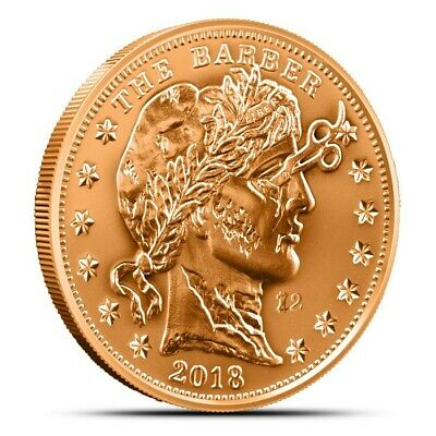 Zombucks The Barber 1 oz .999 Copper BU Round USA Made Zombie Bullion Coin
