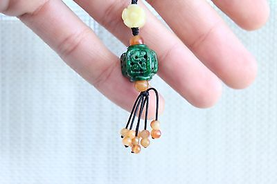 Authentic Hand Carved Watery Natural Jade Stone Charm Tassel All Parts Jade