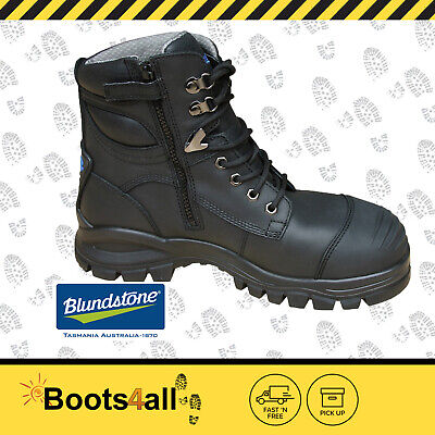 Blundstone Work Boots  Zip Sided 997 Steel Toe Black 30 Day Comfort Guarantee