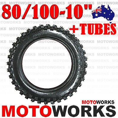 "80/100 - 10"" inch Rear Knobby Tyre Tire Tube 90CC 125CC PIT PRO Trail Dirt Bike"