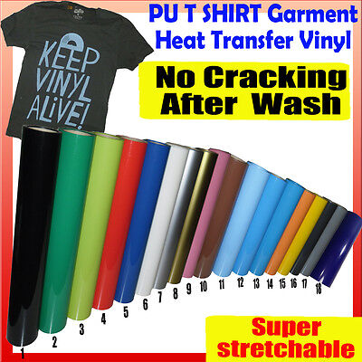 5m x 48cm PU T-SHIRT GARMENT VINYL HEAT PRESS TRANSFER FILM ROLL Plotter Cutter