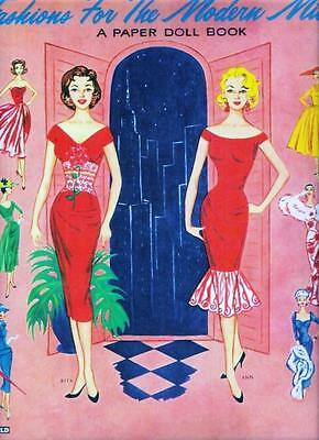 VINTAGE UNCUT 1950s FASHIONS FOR THE MODERN MISS PAPER DOLLS~#1 REPRO~FREE SHIP!