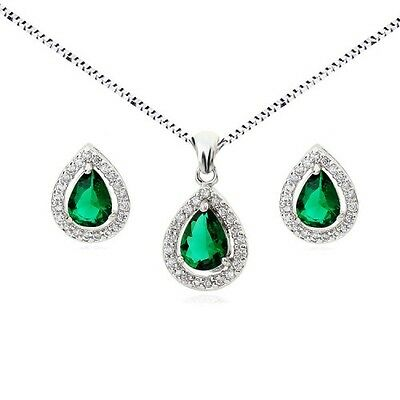 18K White Gold Plated Genuine Emerald Cubic Zirconia Necklace And Earring Set