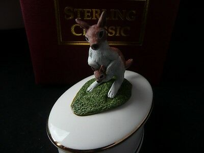 Collectable Sterling Classic Kangaroo/joey Trinket Box