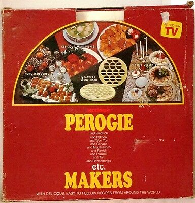 1984 Vintage PEROGIE Maker by ACTIONs 2 molds makes 24 Perogies + RECIPE BOOKLET
