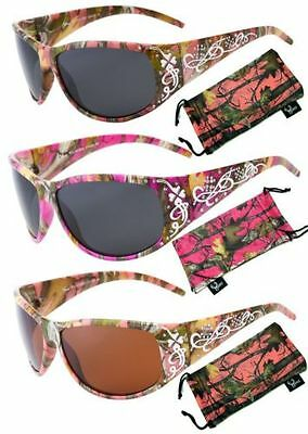 CAMO WOMEN CAMOUFLAGE SUNGLASSES Hunt Fish LT. PINK, HOT PINK & PURPLE WRAPS