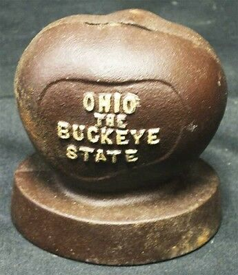 "Ohio The Buckeye State Cast Iron Bank 3 1/2"" tall, 3 1/4""x 2 1/2' projection."