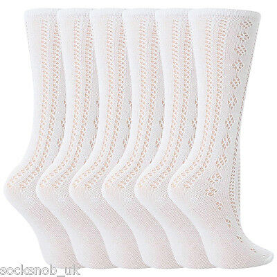 6 Pairs Girls White Fancy Pelerine Knee High Socks (4-6 years)
