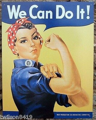 We Can Do It Rosie Riveter Vintage WWII Poster Picture Tin Ad Sign Rockabilly