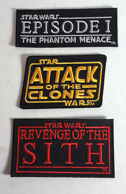 "Star Wars Episodes 1-3 Movie Logo 3""  Patch Set of 3- FREE S&H (SWPA-0081)"