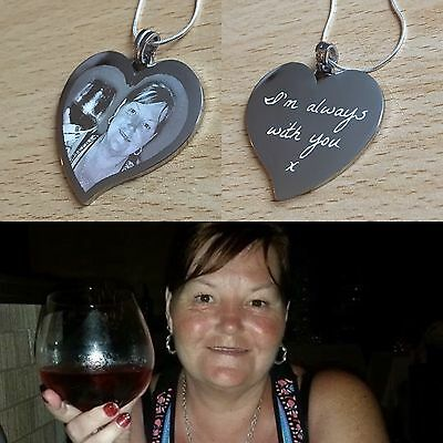Personalised Photo/Text Engraved Heart Necklace & Pendant Wedding Birthday Gift