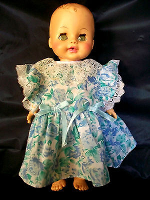 HORSMAN JOINTED DOLL DRINKS & WETS EYES MOVE LACE TRIM DRESS VINTAGE COLLECTIBLE