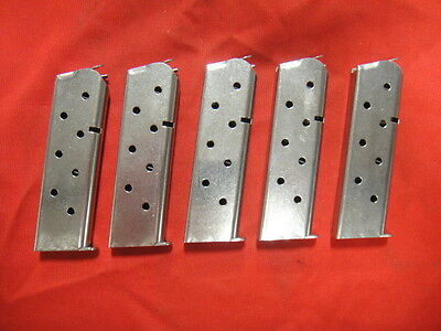 Lot of 5 1911 7 Round Stainless Steel Magazines - GREAT BUY! - Rounded Followers