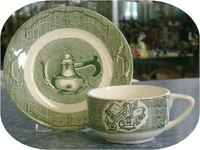 Vintage Old Curiosity Shop Ironstone Royal China Green Transferware Cup & Saucer