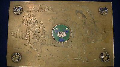 VINTAGE CLOISONNE BRASS CHINESE EXPORT BOX LARGE ORNATE ENGRAVED EXCELLENT NICE!