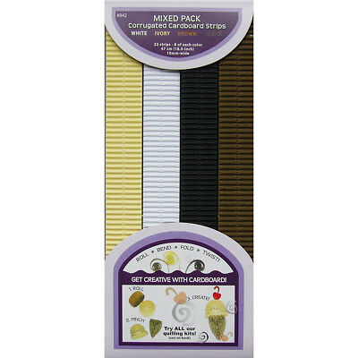"Quilling Corrugated Cardboard Strips 0.4 "" (10mm) 32 Per Pack - Mixed Pack - (84"
