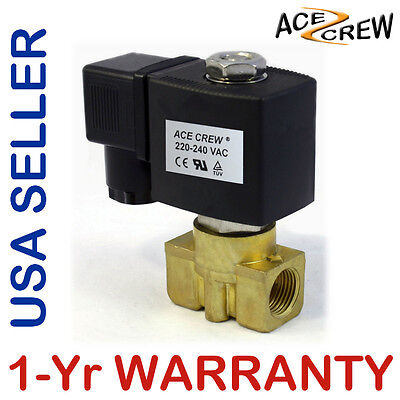 VITON 3/8 in 220V-240V AC Brass Solenoid Valve NPT Gas Water Air Normally Closed