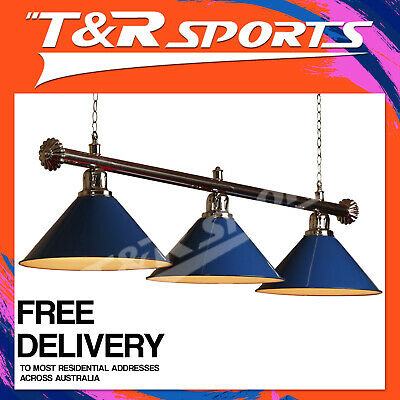 New! Premium Quality Silver Rail With Blue Heavy Duty Shades Pool Table Light