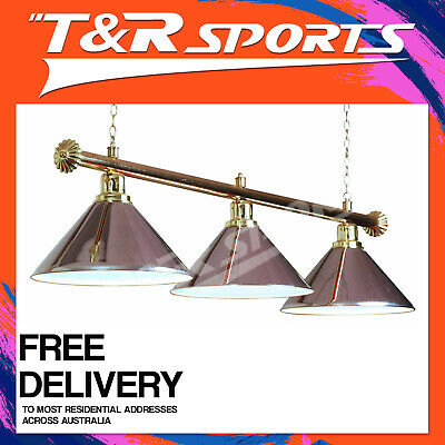New! Premium Quality Gold Rail With Silver Heavy Duty Shades Pool Table Light