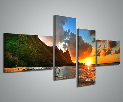 QUADRI MODERNI SUNSET ON THE SHORE QUADRO MODERNO 160x70cm STAMPE SU TELA ARREDO