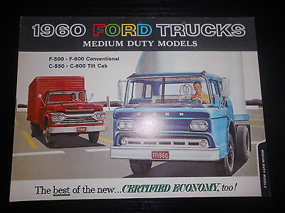Prospekt Sales Brochure Ford Trucks 1960 Medium Duty Models F500 F600 C550 C600