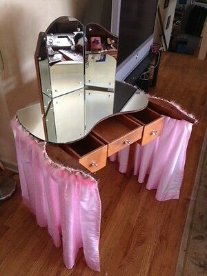 Vintage Kidney Shaped Vanity Table, with mirrored glass top and trifold mirror