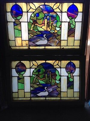 Sg 103 2 Available Very Attractive Swan Antique And Landscape Stainglass Windows