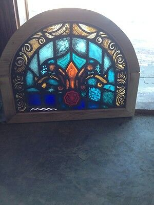 Sg 112 Antique Arch Painted In Fired Stained Glass  Window