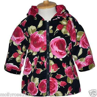 Baby Girl Jelly Beans Black Large Rose Floral Printed 100% Cotton Jacket / Coat