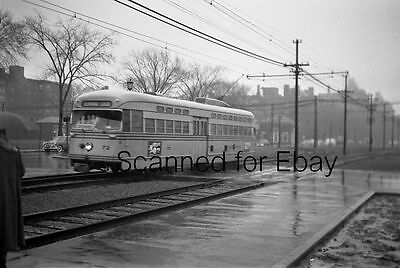 SHAKER HEIGHTS TROLLEY #72 April 1954 ORIGINAL PHOTO NEGATIVE-Railroad