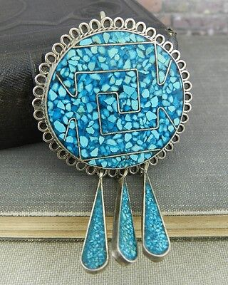Vintage Mexico Sterling Silver Crushed Turquoise Fringed Pin / Pendant