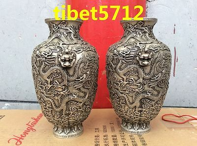 24 tall pair China Bronze coated silver tibetan fly dragon statue tabletop Vase