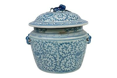 """Vintage Floral Blue & White Chinoiserie Porcelain Rice Jar with Lid 9"""" Tall"""