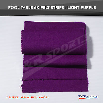 6x Light Purple Thick Double-sided Wool Pool Table Felt Strips for Cushion