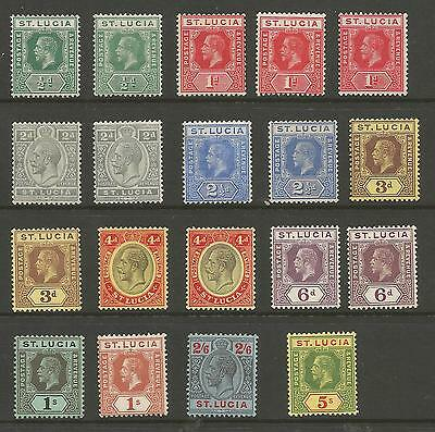 St Lucia  1912-21 Sg78-88 Including Shades Fine Lightly Mounted Mint Cat £174