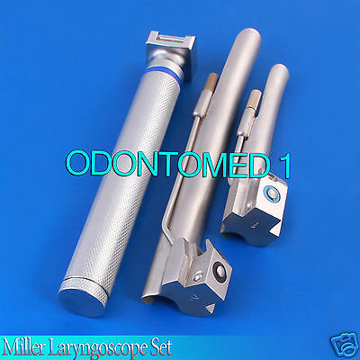 LARYNGOSCOPE SMALL HANDLE AA + 2 MILLER BLADE #1 and #2 ENT ANESTHESIA SET