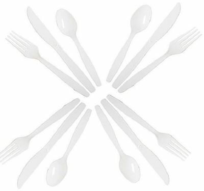 75 Plastic Cutlery Set White Disposable Strong Party Wedding BBQ Events Birthday