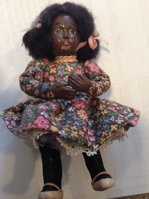VINTAGE HAND MADE MINIATURE BLACK DOLL ONE OF A KIND 3 1/2 INCHES TALL
