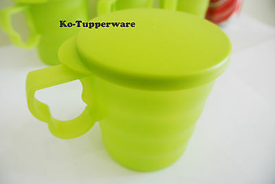 1 set Tupperware Blossom Mugs & Seals green casual entertaining 350ml