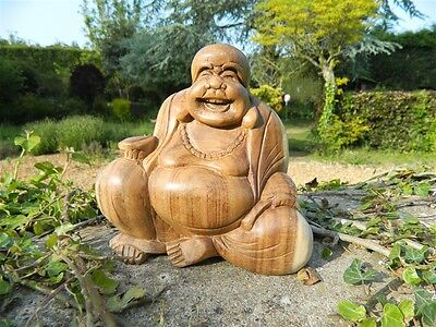 Wooden Buddha Carving - Hand Carved Sitting Fat Chinese Laughing Buddha 15cm