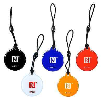 5 NFC Tag  Anhänger Style   NTAG 216 mit 924 Byte   5 Farben