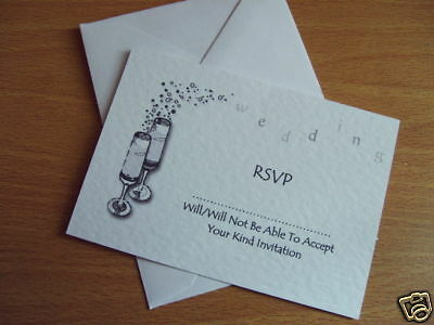 25 Wedding Rsvp Cards Personalised Small A7 Champagne