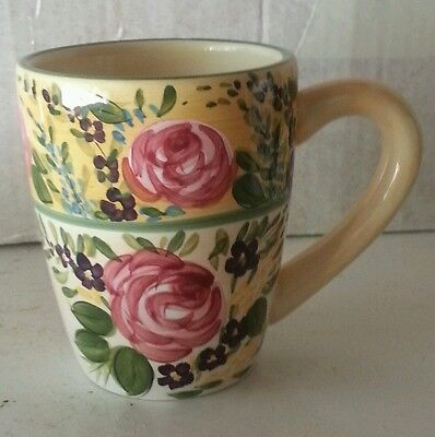 French Garden Hand Painted Coffee Mug Roses
