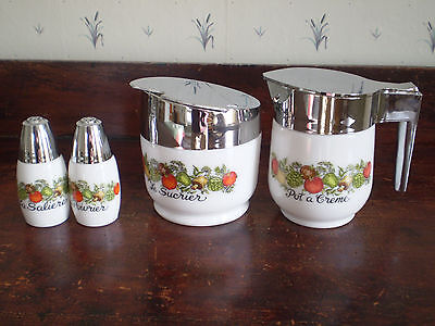 Corning Spice of Life 4 Gemco Go-Withs - Cream & Sugar and Salt & Pepper