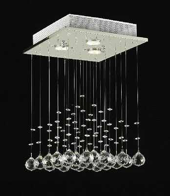 Crystal Rain Drop Chandelier Light Fixture Glass Ball White Ceiling Lighting NEW