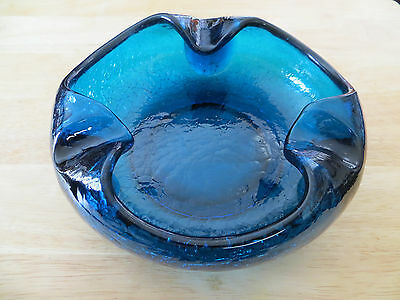 Mid Century Vintae Studio Viking Crackle Glass Sapphire Blue Cigar Ashtray Thick